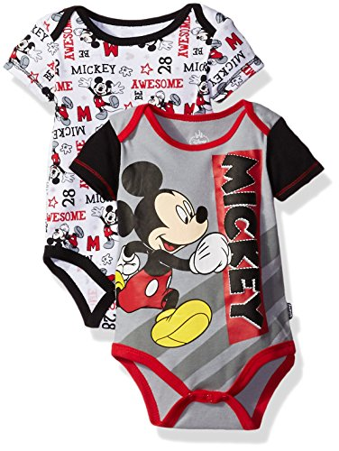 Disney Baby Boys' Mickey Mouse Adorable Soft Two-Pack Bodysuits, Awesome Gray, 3-6 Months (Mickey Mouse Clubhouse Full Episodes En Espanol)