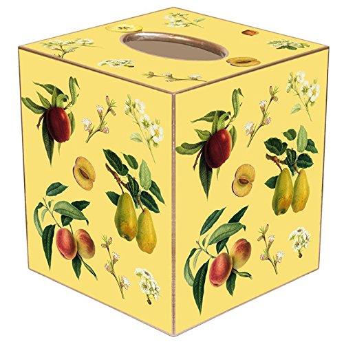 Fruit on Yellow Paper Mache Tissue Box Cover (Yellow Paper Mache)