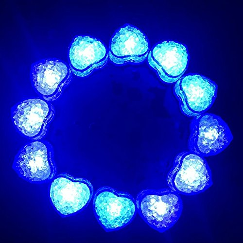 Hongtang 12Pcs Love Heart Liquid Sensor LED Light Up Glow Ice Cubes Molds Party Supplies Decoration Blue -