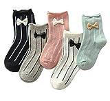 PenGreat Little Girls Bowknots Stripe Socks Beautiful Casual Crew Socks Kids