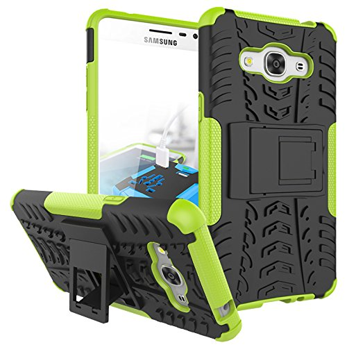 J3 Emerge Case, Galaxy J3 2017/ Amp Prime 2/ J3 Luna Pro/ Express Prime 2 Case, KMISS Hybrid Heavy Duty Armor Protection Cover [Anti Slip] [Built-In Kickstand] Skin Case For Samsung J3 Emerge (Green)