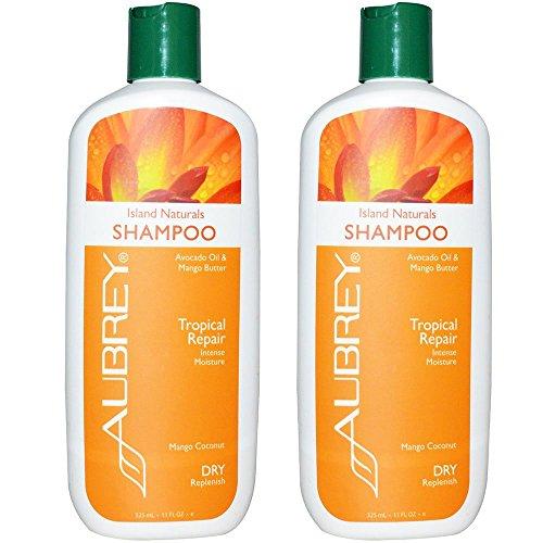 Aubrey Organics Island Botanicals Shampoo for Tropical Repair and Dry Replenish with Avocado Oil, Mango Butter and Mango Coconut, 11 fl oz (325 ml) (Pack of 2)