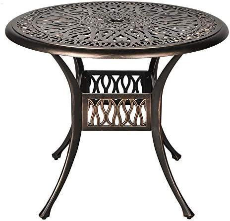 OKIDA 35.4 Diameter Outdoor Patio Bistro Round Table with 2.0 Umbrella Hole Cast Aluminum Dining Table for Backyard, Garden or Porch