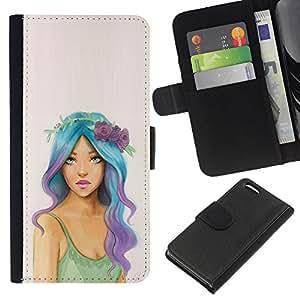 Chica gratuito Hippie Moda Mujer- la tarjeta de Crédito Slots PU Funda de cuero Monedero caso cubierta de piel Para Apple iPhone 5C
