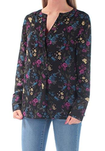 Kensie Womens Georgette Floral Print Blouse Black ()