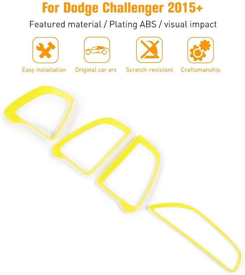 JeCar Center Console Air Conditioner Outlet Vent Trim Accessories for Dodge Challenger 2015-2020 Yellow, 4pcs