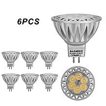 BAOMING MR16 LED Bulbs 7W GU5.3 12V 560lm 70W Halogen Spotlight Equivalent Cool White 6000K, 38 Degree Beam Angle Die-cast aluminum Pack of 6