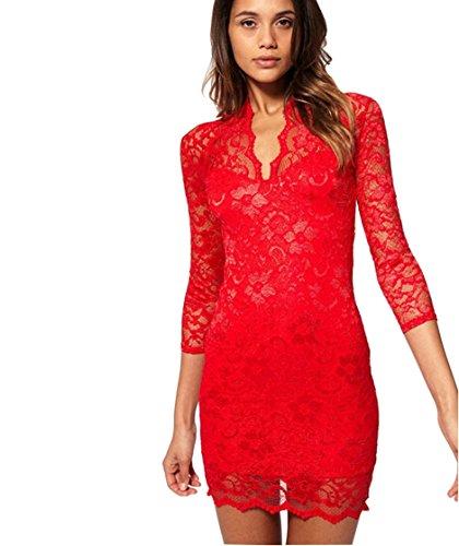 Puff Sleeve Wrap (LanLan Women's 3/4 Sleeve Party Lace Mini Wrap Dress V)