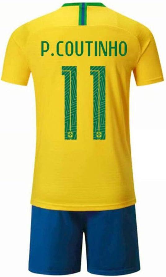 PAOFU-/Équipe Nationale Br/ésilienne de Football Philippe Coutinho # 11 Ensemble de Maillot de Football pour Homme