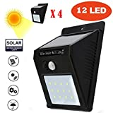 Inverlee 4X12LED Solar Light Wireless Waterproof Motion Sensor Security Outdoor Wall Lamp (Black)