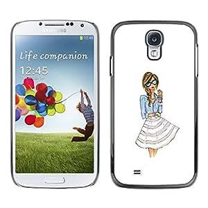 Slim Design Hard PC/Aluminum Shell Case Cover for Samsung Galaxy S4 I9500 dress fashion girl woman white glasses / JUSTGO PHONE PROTECTOR