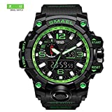 Mens Large Dual Dial Analog Digital Quartz Sport Watch Multifunction Two Timezone 24H Military Waterproof Casual Back Waterproof Date LED Display (Black-Green)