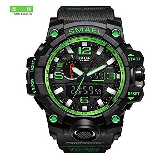 Mens Large Dual Dial Analog Digital Quartz Sport Watch Multifunction Two Timezone 24H Military Waterproof Casual Back Waterproof Date LED Display (Black-Green) by SMAEL