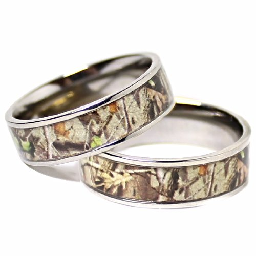His & Hers Camo Real Oak TITANIUM Wedding Bands Rings Hunting Army Camouflage (Size 10 and 10)