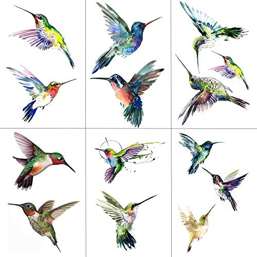 Watercolor Hummingbird Temporary Fake Tattoo Body Art Sticker Waterproof Hand Bird Tattoo for Men Hot Design 9.8X6cm