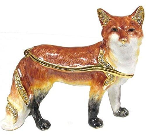 (Red Fox Bejeweled Enameled Hinged Trinket Box)