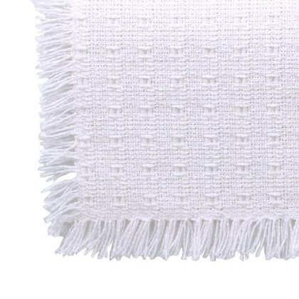 62 x 108 (Rectangle) Homespun Tablecloth, Hand Loomed, 100% Cotton, Solid White
