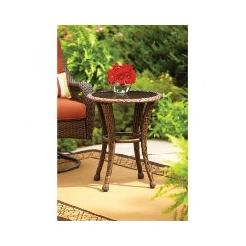 20″ Round Patio Brown Wicker All Weather Garden Patio Side Table