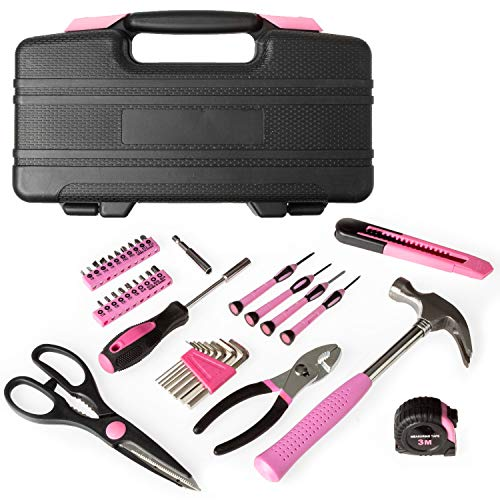 39 Piece Tool Box Kit, Pink - Small Basic Home Tool Set - Great for College Students, Household Use & More