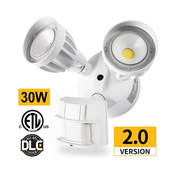 Amico-LED-Security-Light-30W-200W-Equivalent-Dual-Head-Motion-Sensor-Outdoor-Lights-2550lm-5000K-Daylight-Waterproof-IP65-ETL-DLC-Listed-Floodlights-Adjustable-Head-Lighting-1-pack