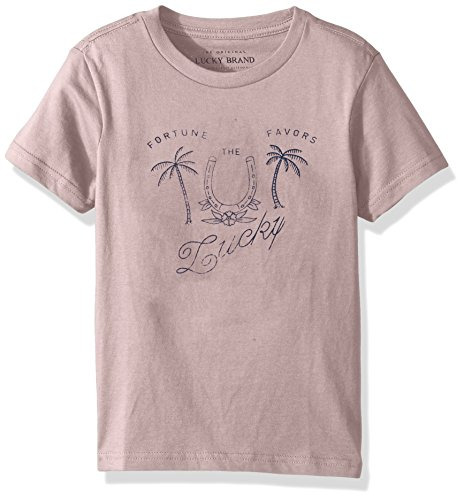 Price comparison product image Lucky Brand Little Boys' Short Sleeve Graphic Tee Shirt,  Pale Mauve Heather Palm Tree,  7
