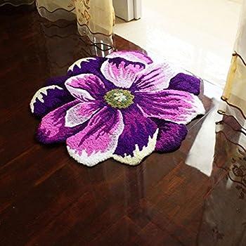 "Hughapy Purple and White Flower Design Bedroom Mat Antiskid Carpet/Area Rug,25.6""x25.6"""