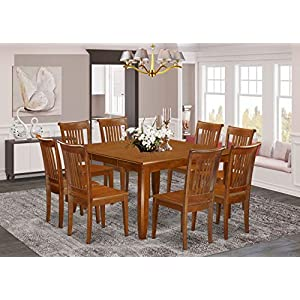 9 Pc Dining room set for 8-Kitchen Table with Leaf and 8 Dinette Chairs.