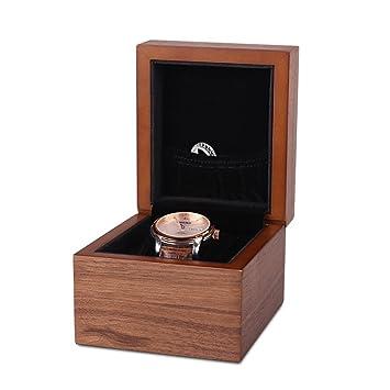 Caja para relojes de madera nuez reloj caja con revestimiento de franela y porta anillos 11.5*10*8.5cm: Amazon.es: Hogar