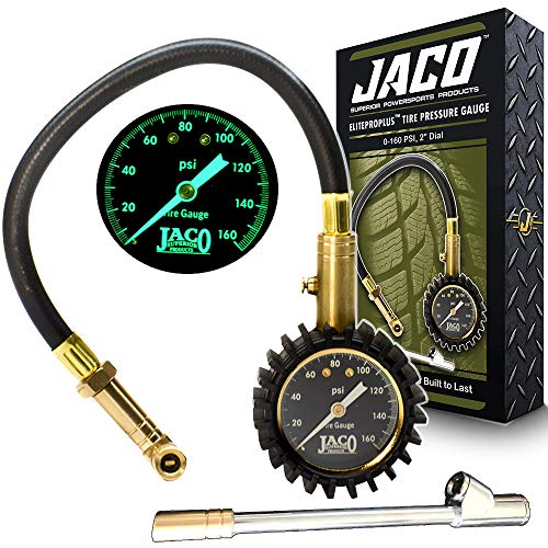 JACO EliteProPlus Tire Pressure Gauge with Interchangeable Dually Air Chuck - 160 PSI (Jaco Elitepro Tire Pressure Gauge 100 Psi)