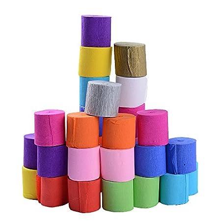 30 Rollos Papel Crepé Pinocho Bandas 12 Colores para Decoración Fiesta Cumpleaños Boda Diy Manualidades Tamaño de Cada Rollo 10m x3.5cm