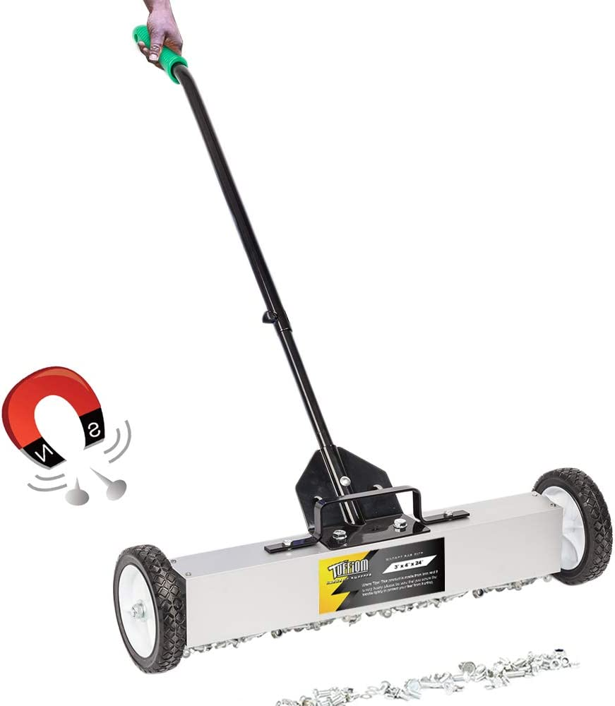 """SSLine Rolling Magnetic Pickup Sweeper with Wheels 24"""" Wide Magnetic Broom Heavy Duty Industrial Magnet Pick Up Tools w/Quick Release Latch & Adjustable Handle for Screws Narils Needles Collection"""