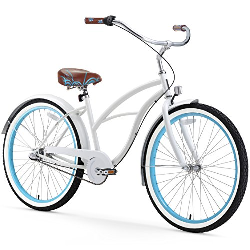 sixthreezero Women's 3-Speed 26-Inch Beach Cruiser Bicycle, BE White/Blue
