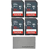 SanDisk 32GB Ultra (4 Pack) UHS-I Class 10 SDHC Memory Card, Retail Packaging - with (1) Everything But Stromboli (tm) Microfiber Cloth