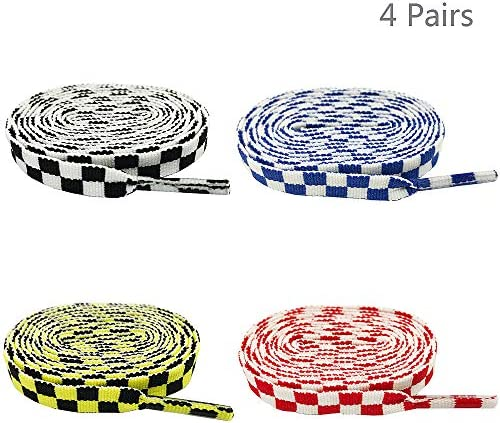 4ペア モザイクプリントフラット靴紐交換用靴紐 スニーカー靴紐交換 - 1.2M - ブラック/イエロー/レッド/ブルー