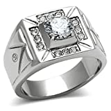Men's Stainless Steel Clear Cubic Zirconia Cluster Style Wedding Ring