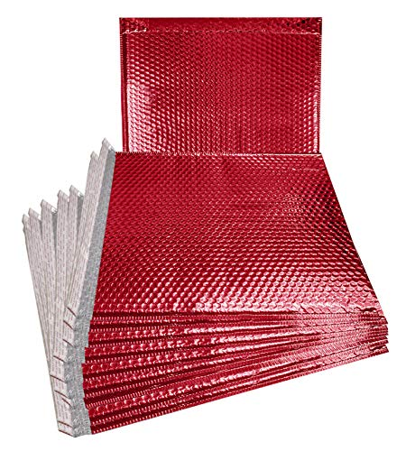 (ABC Metallic Bubble mailers 12.75 x 10.5. Red Padded envelopes 12 3/4 x 10 1/2. Large Glamour Bubble mailers Peel and Seal. Padded mailing envelopes for Shipping. Pack of 10.)