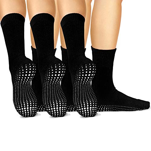 Fuzzy Socks Dot (LA Active Grip Socks - 3 Pairs - Yoga Pilates Barre Ballet Non Slip Crew Hospital Socks (Tuxedo Black x 3))