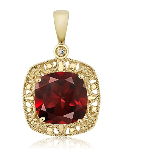 Gem Stone King 10K Yellow Gold Red Garnet and Diamond Accent Women's Pendant Necklace 2.74 Cttw Cushion Cut 8MM ()