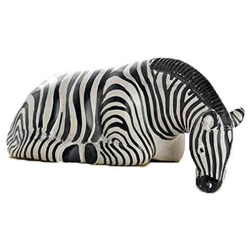 The Crabby Nook Zebra-Shelf-Sitter-Statue-Safari Animals African Art Collectibles Stone Sculpture (Decor Zebra Home Statue)