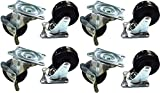 Black Duck Brand 2'' Locking & Non-Locking Swivel Caster Wheels Rubber Base with Top Plate & Bearing, Heavy Duty (4 Locking & 4 Non-Locking Casters)