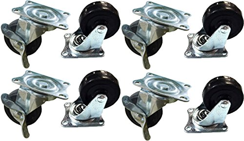 Black Duck Brand 2'' Locking & Non-Locking Swivel Caster Wheels Rubber Base with Top Plate & Bearing, Heavy Duty (4 Locking & 4 Non-Locking Casters) by Black Duck Brand