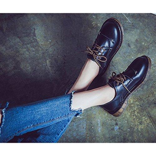 Hoxekle Chaussures Plates Des Femmes Rondes Orteils / Dentelle Perforée / Style Britannique / Plate-forme / Chaussures Vintage Oxford Noir