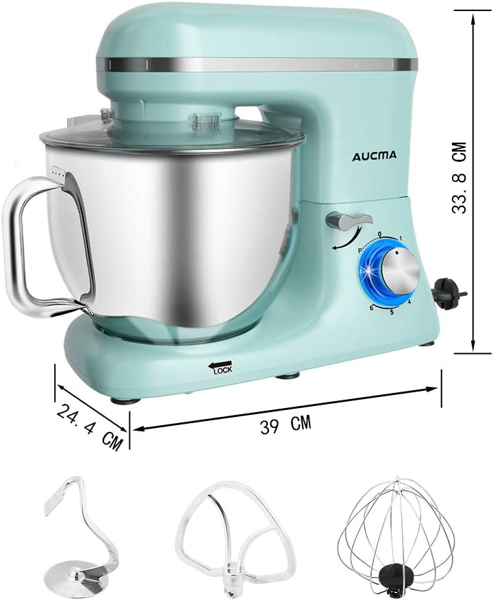 Aucma Stand Mixer,7L Tilt-Head Food Mixer, 6 Speed Electric Kitchen Mixer with Dough Hook, Wire Whip & Beater 1400W (Blue) Blue