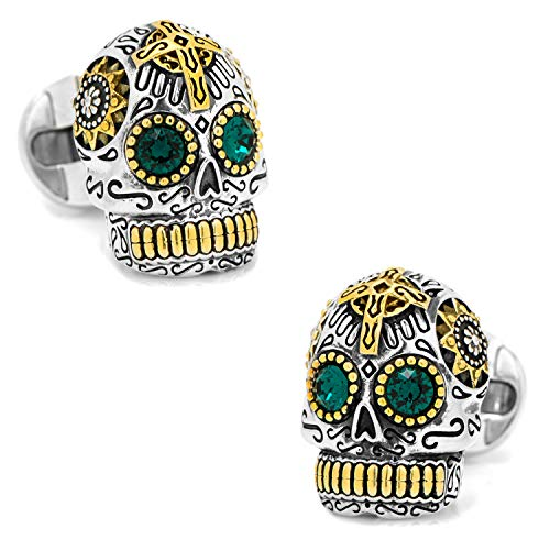 (Ox and Bull Trading Co. Sterling Silver and Gold Day of The Dead Skull Cufflinks)