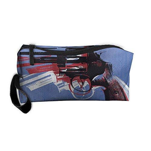 Machine Gun On Blue Storage Cosmetic Bag Portable Travel Makeup Bag Packing Pouches