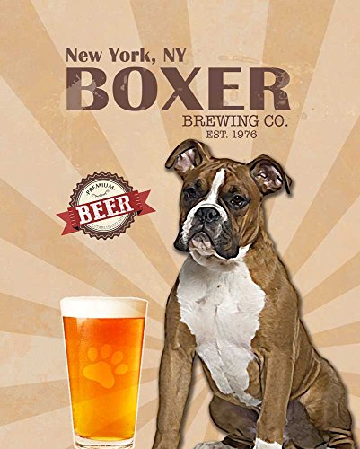 Boxer Brewing Co  Vintage Dog Poster Print 11X14   Customizable City And State  Please Email Directly After Purchase