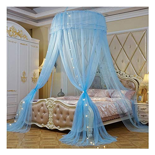 ing and California King Size Beds, Lighted Conical Three Open Doors Netting, Indoor Outdoor Use, Including Hanging Kit, Small Light Bulb and Anti-Mosquito Sticker,Blue ()
