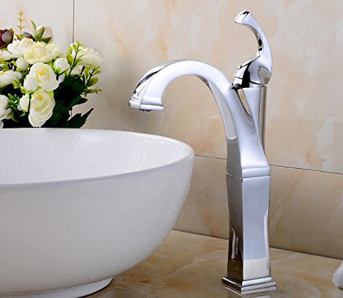 AQiMM Waschtischarmatur Wasserhahn Waschbecken Messing Warmes Und Kaltes Wasser 1 Bohrung Retro Verchromt Einhebelsteuerung  Badezimmer Mischbatterie