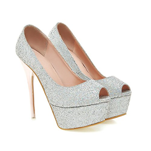 YE Damen Stiletto High Heels Peeptoe Plateau Glitzer Pailletten Pumps Party Schuhe Silber