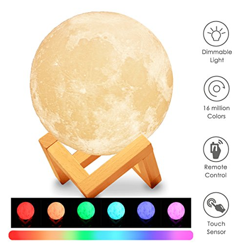 , KingSo 16-colors Dimmable 5.9 inch Remote Control Baby Night Light Table Desk Lamp USB Charging Wooden Base for Bedroom Birthday Decoration (Cute Color Printed)